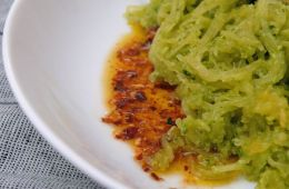 pesto, squash and chili oil