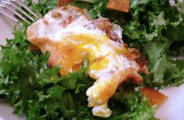 crunchy fried egg on salad