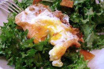 crunchy fried egg on salad