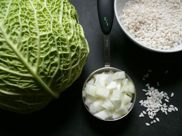 cabbage, onion and rice