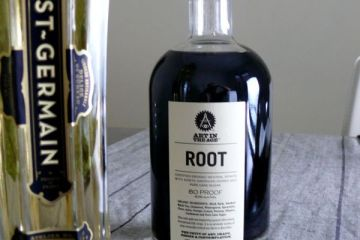 st. germain and root liqeur bottles