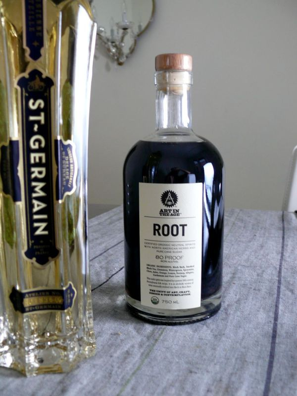 st. germain and root liqeur bott;es