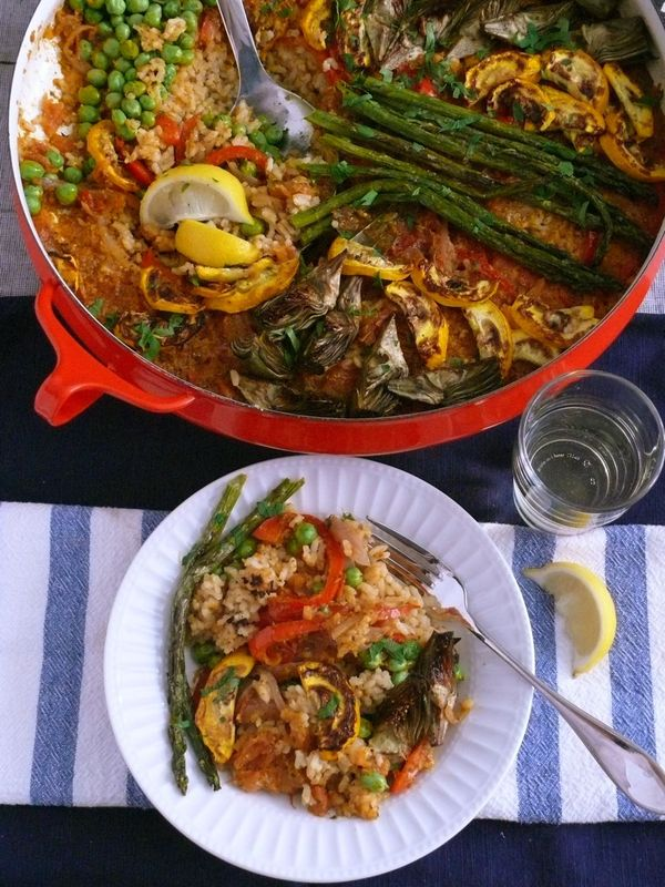 early summer paella, plated