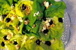 boston lettuce, oven-dried olives, feta and roasted chickpeas