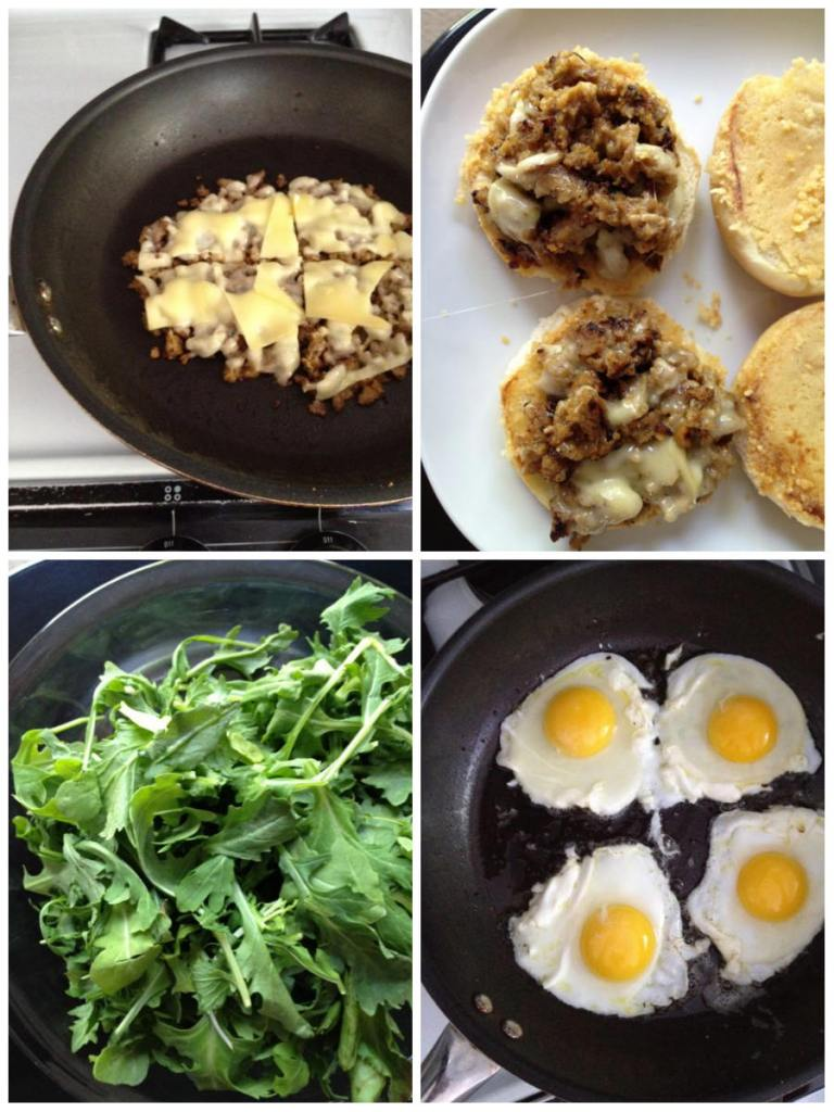 sausages fried, cheese, eggs sunny side up