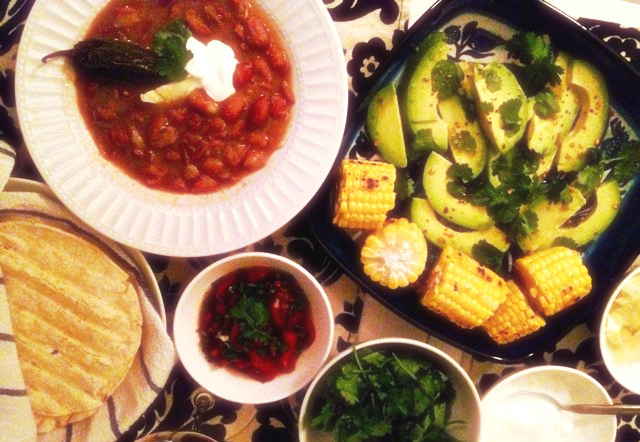 mex pot beans, corn and avocado