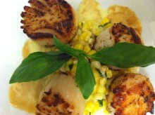 Seared scallops and creamed corn