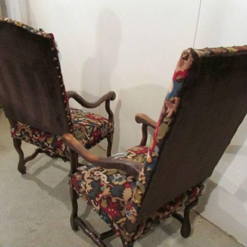deux fauteuils louis xiii os de mouton