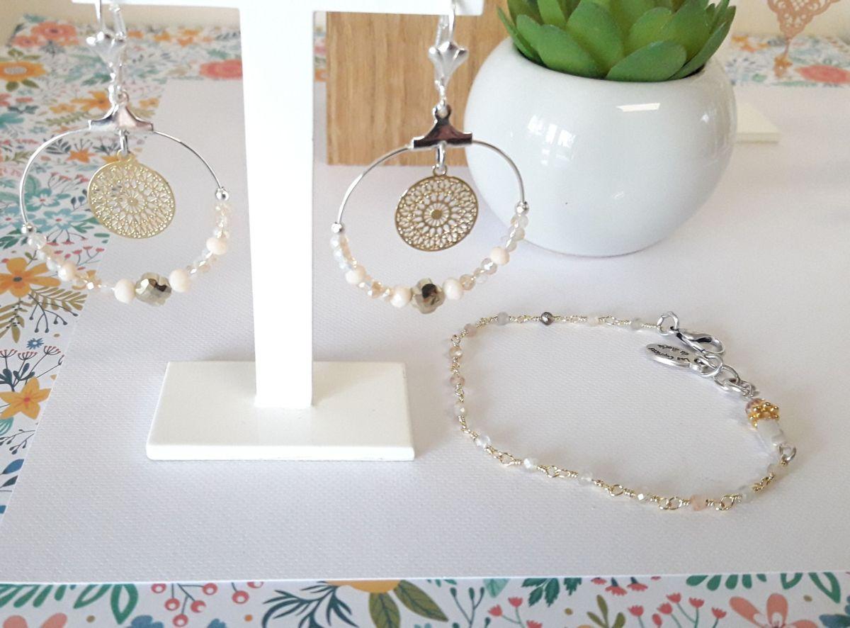 Ensembles perles rose et bracelet pierres de lune