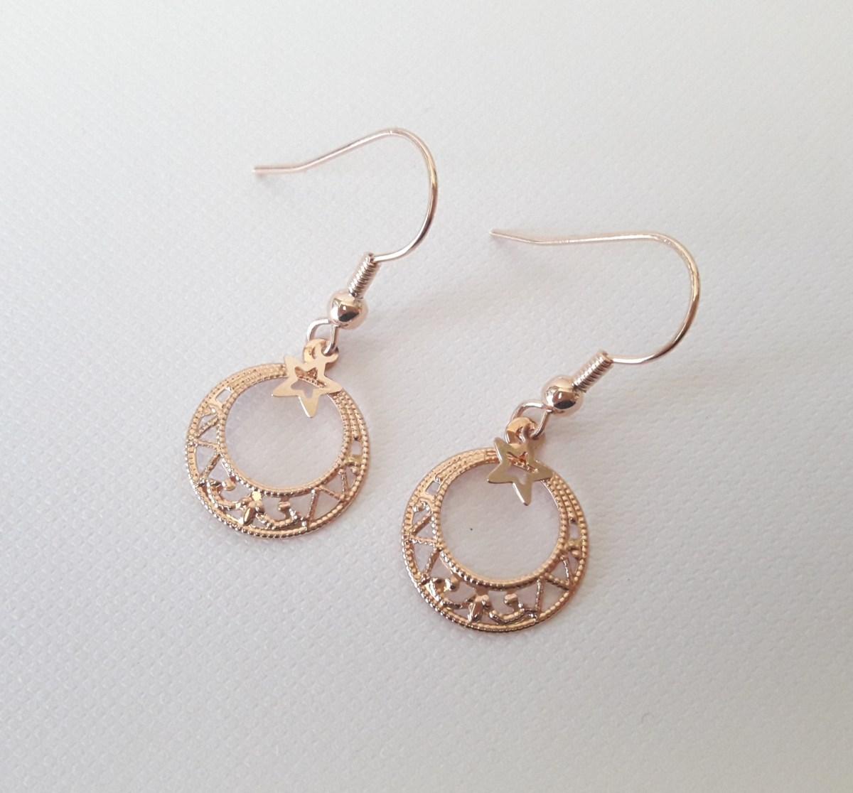 Boucles d'oreilles or rose anneaux