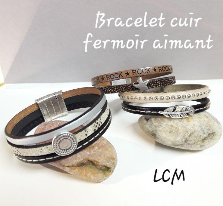Bracelet cuir manchette aimanté femme