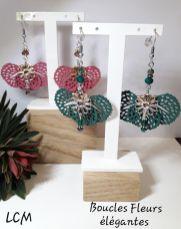 Boucles d'oreilles Fleurs élégantes Pivoine et Sapin