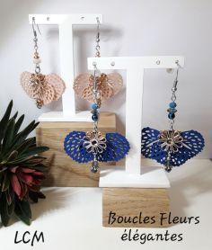 Boucles d'oreilles Fleurs élégantes Bleuet et églantine