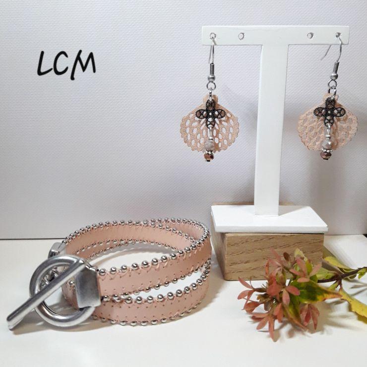 Bijou(x) Bracelet cuir double fermoir T et boucles d'oreilles pétale en suédine
