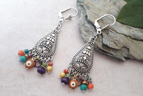 Boucles d'oreilles Bohémienne multicolores