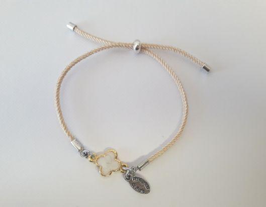 Bracelet cordon trèfle émaillé