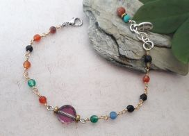 Bracelet pierres naturelles multicolores