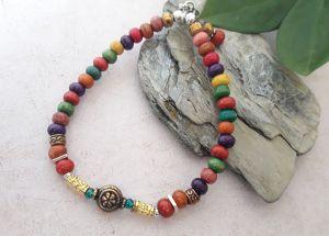 Perles bois multicolores