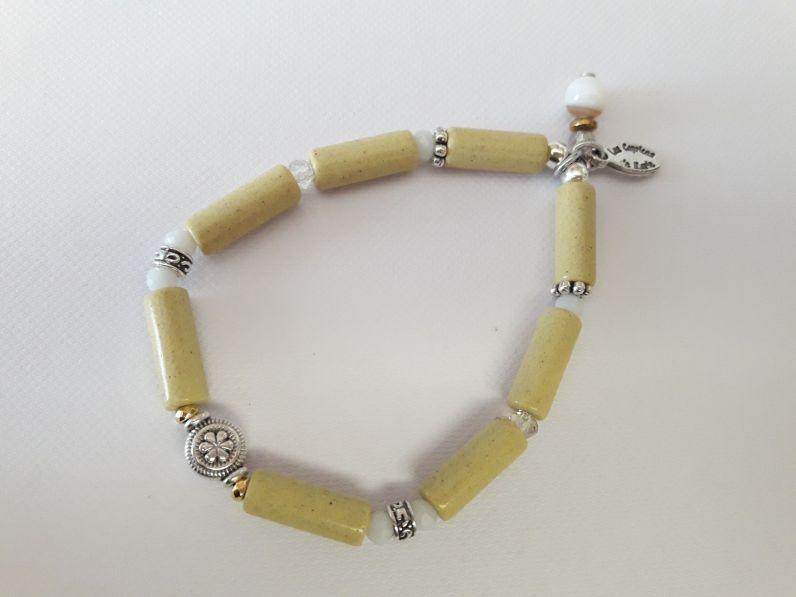 Bracelet jaune perles tube