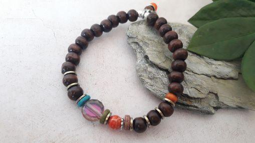 Bracelet perle de bois et perle orange