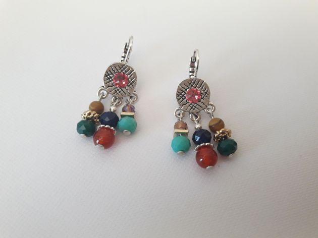 Boucles d'oreilles 3 rangs multicolore