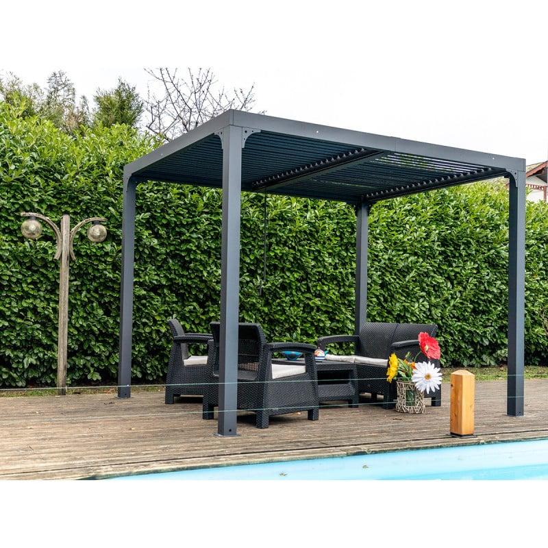 pergola bioclimatique aluminium balcon et terrasse 2 4x3m