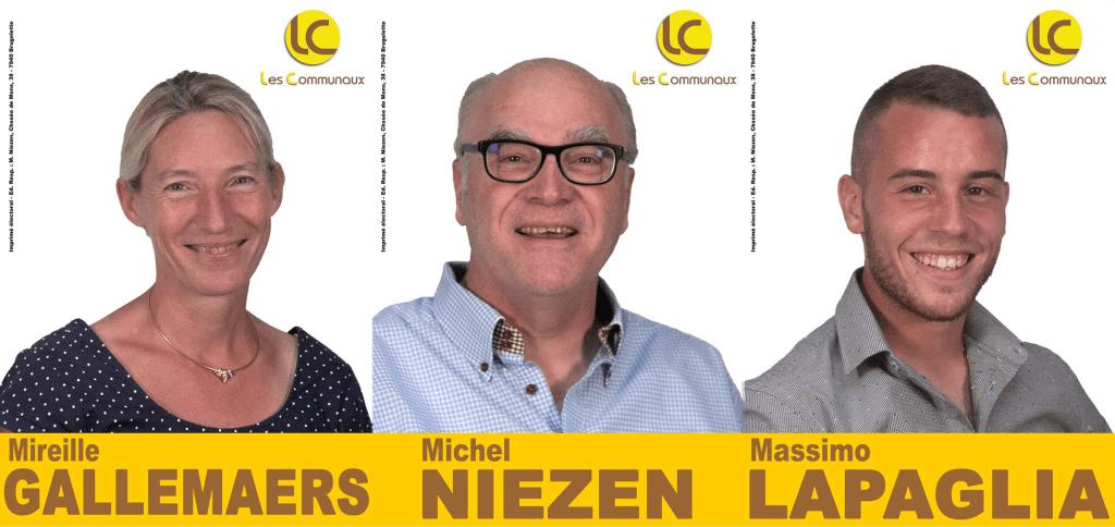 Mireille, Michel, Massimo sont les trois élus des COMMUNAUX à Brugelette
