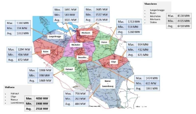 ELIA Tracé SUD - Carte des besoins en électricité en Belgique horizon 2030