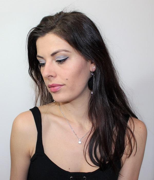 msc maquillage argente et rose pale