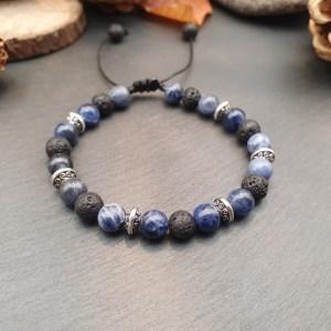 Bracelet sodalite et pierre de lave