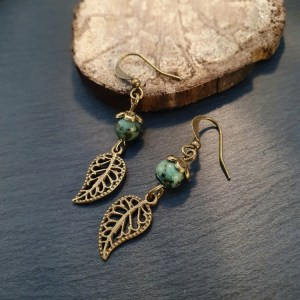 Boucles d'oreilles turquoise africaine