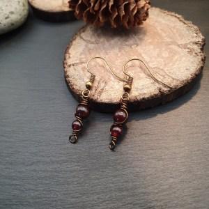 boucles d'oreilles pierre naturelle grenat