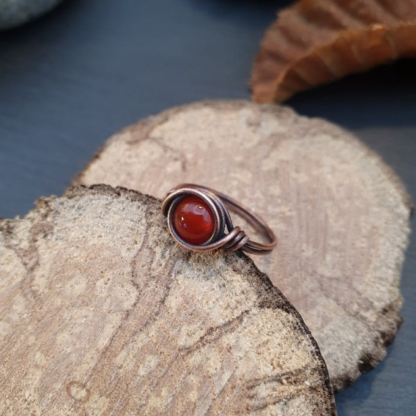 Bague wire wrapping cornaline