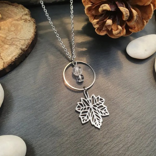 Collier cristal de roche en acier inoxydable