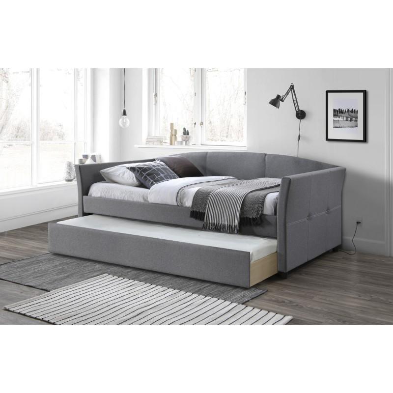 lit avec tiroir de rangement 1 place 90 cm x 200 cm gris carellia