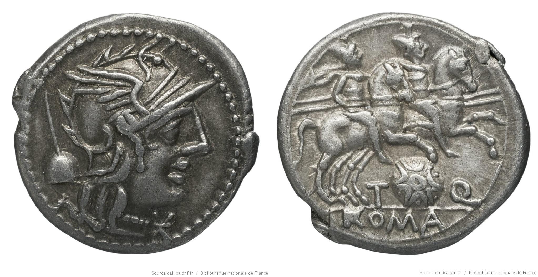 1035QU – Denier Quinctia – Titus Quinctius Flaminius