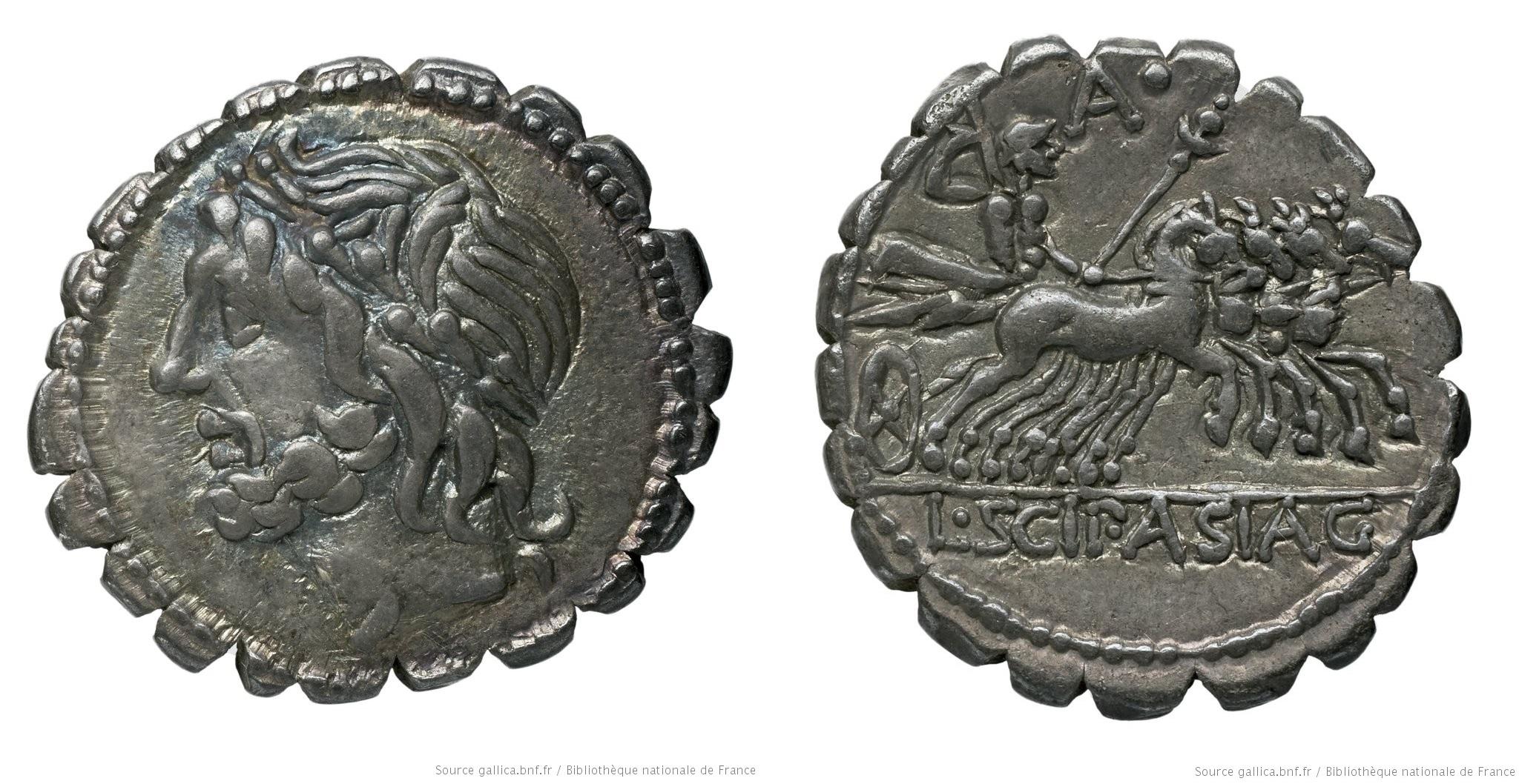 1132CO – Denier Serratus Cornelia – Lucius Cornelius Scipio Asiagenus