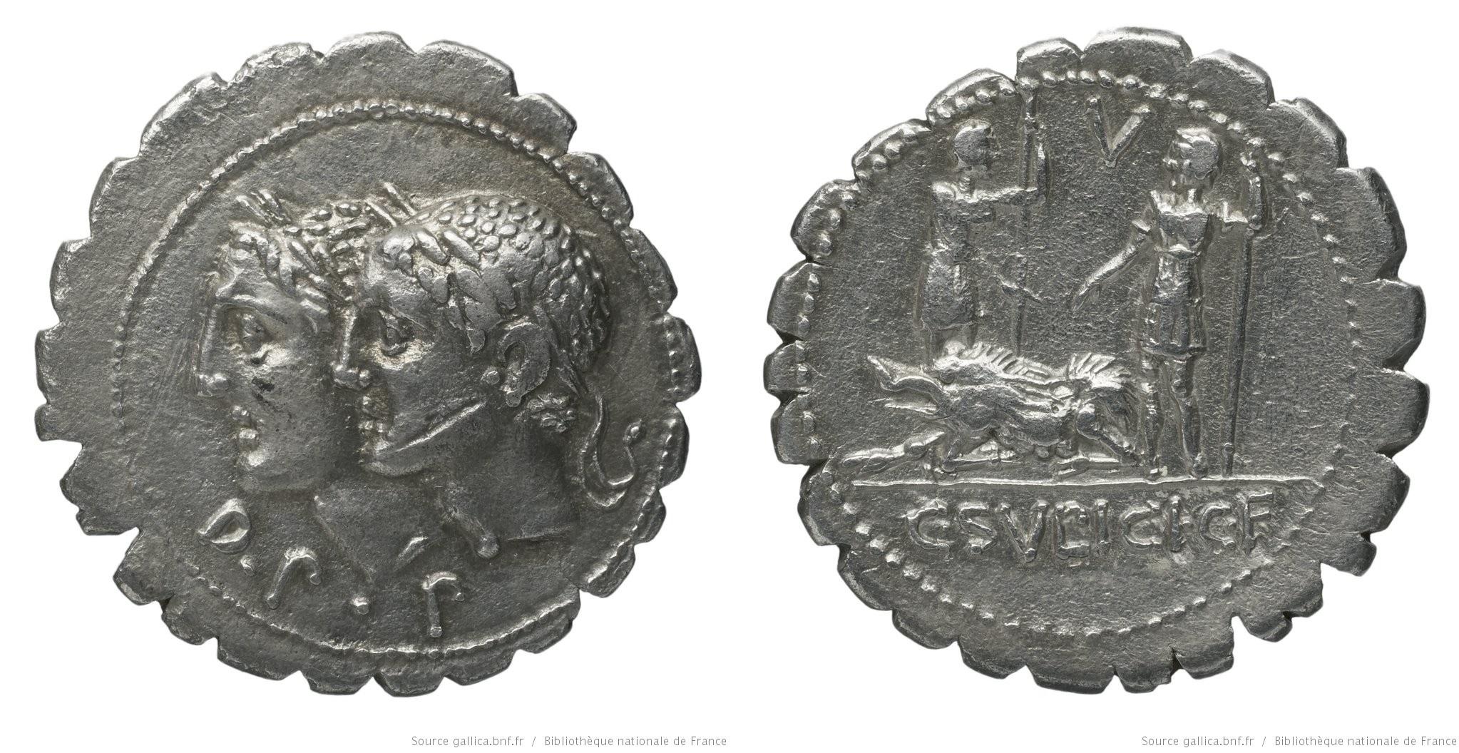 1133SU – Denier Serratus Sulpicia – Caius Sulpicius Galba