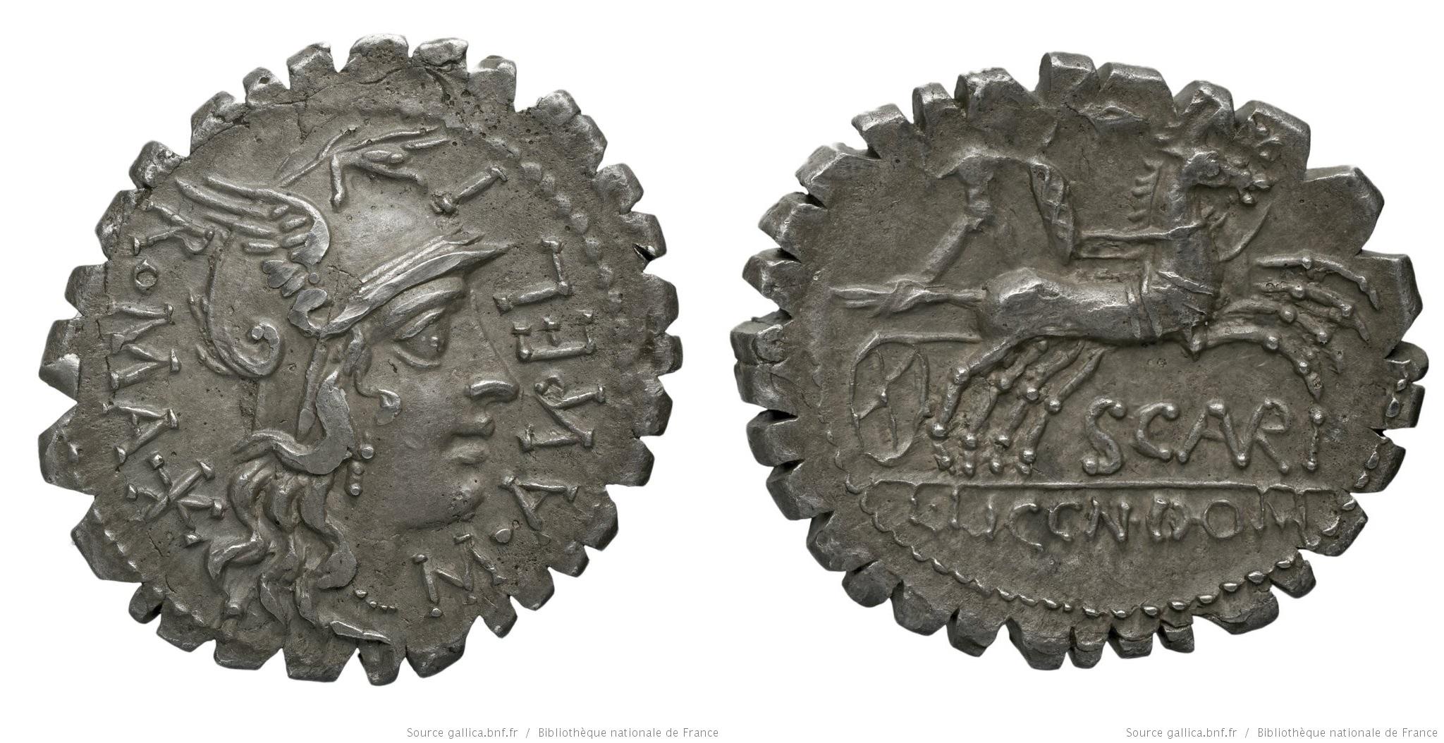 1067AU – Denier Serratus Aurelia – Marcus Aurelius Scaurus