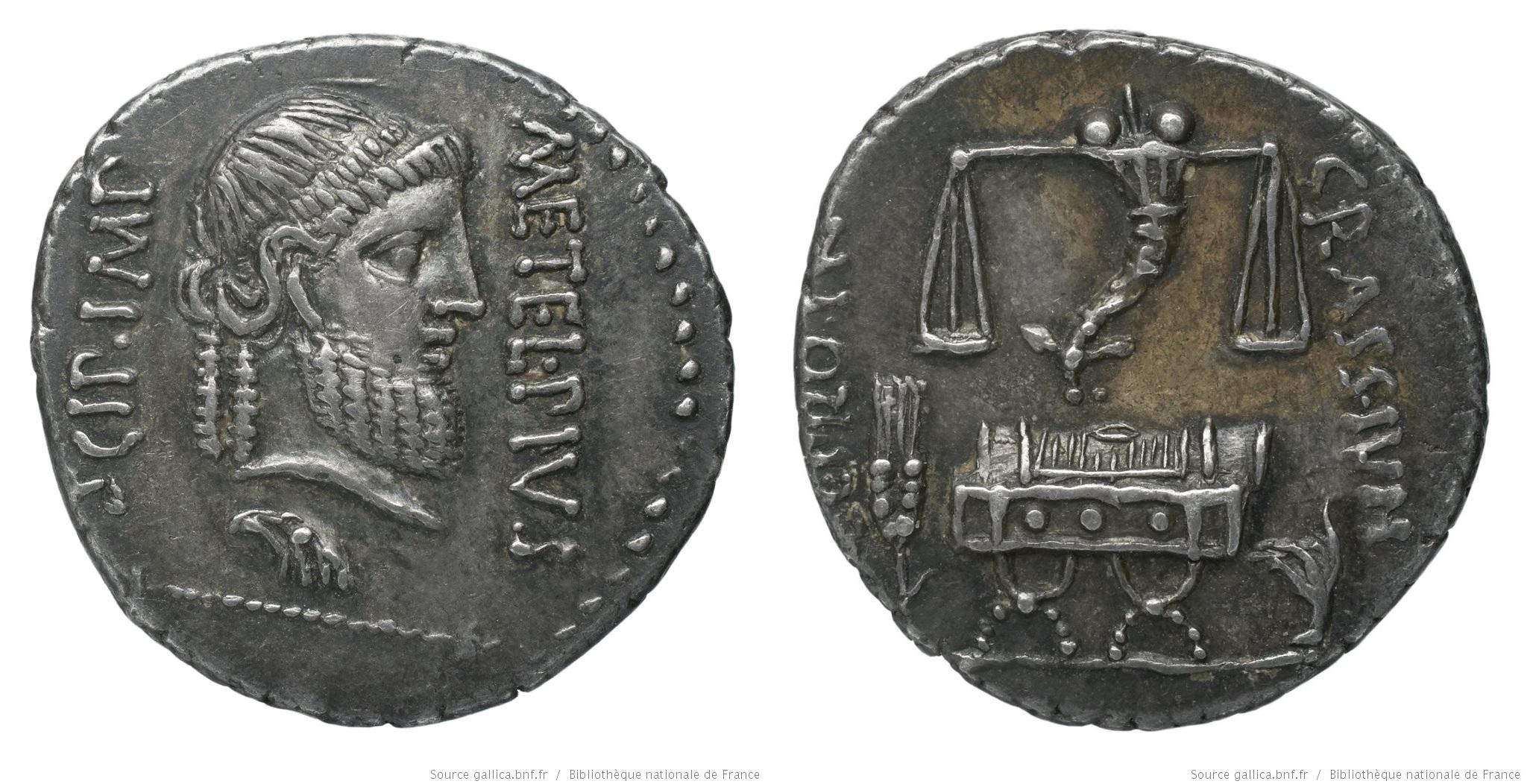 1464CA – Denier Scipion et Crassus – Q. Cæcilius Metellus Pius Scipio