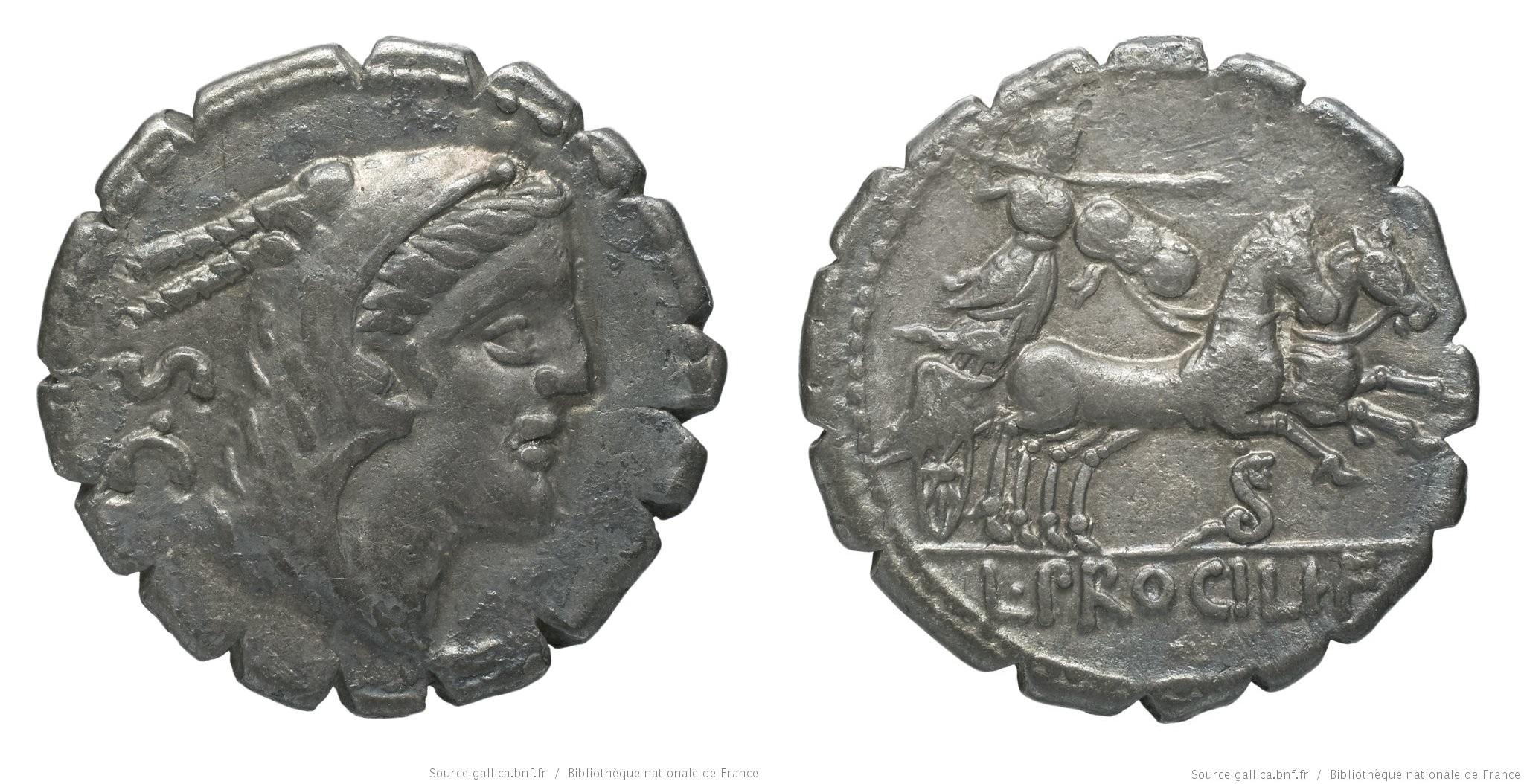 1312PR – Denier Serratus Procilia – Lucius Procilius