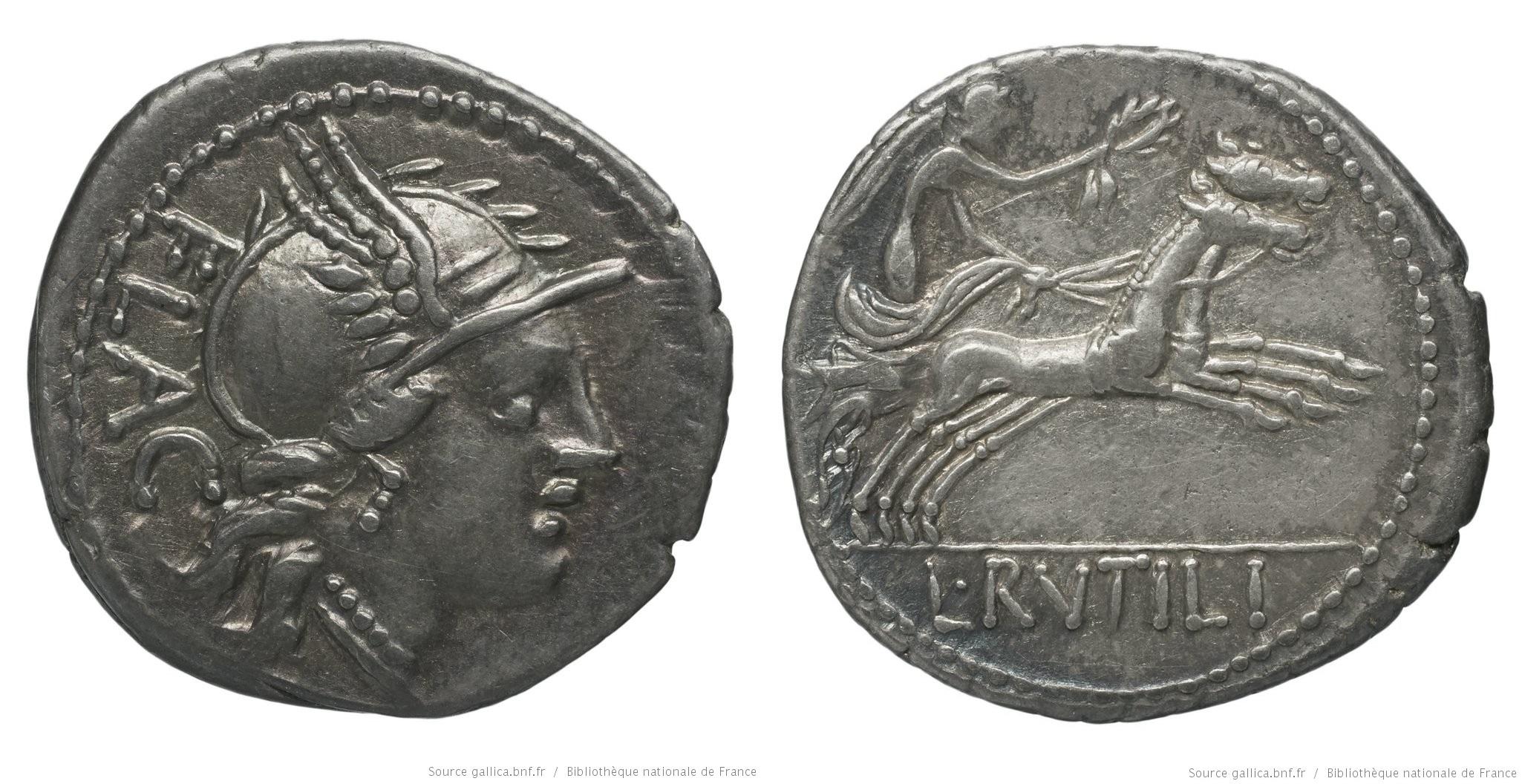 1324RU – Denier Rutilia – Lucius Rutilius Flaccus