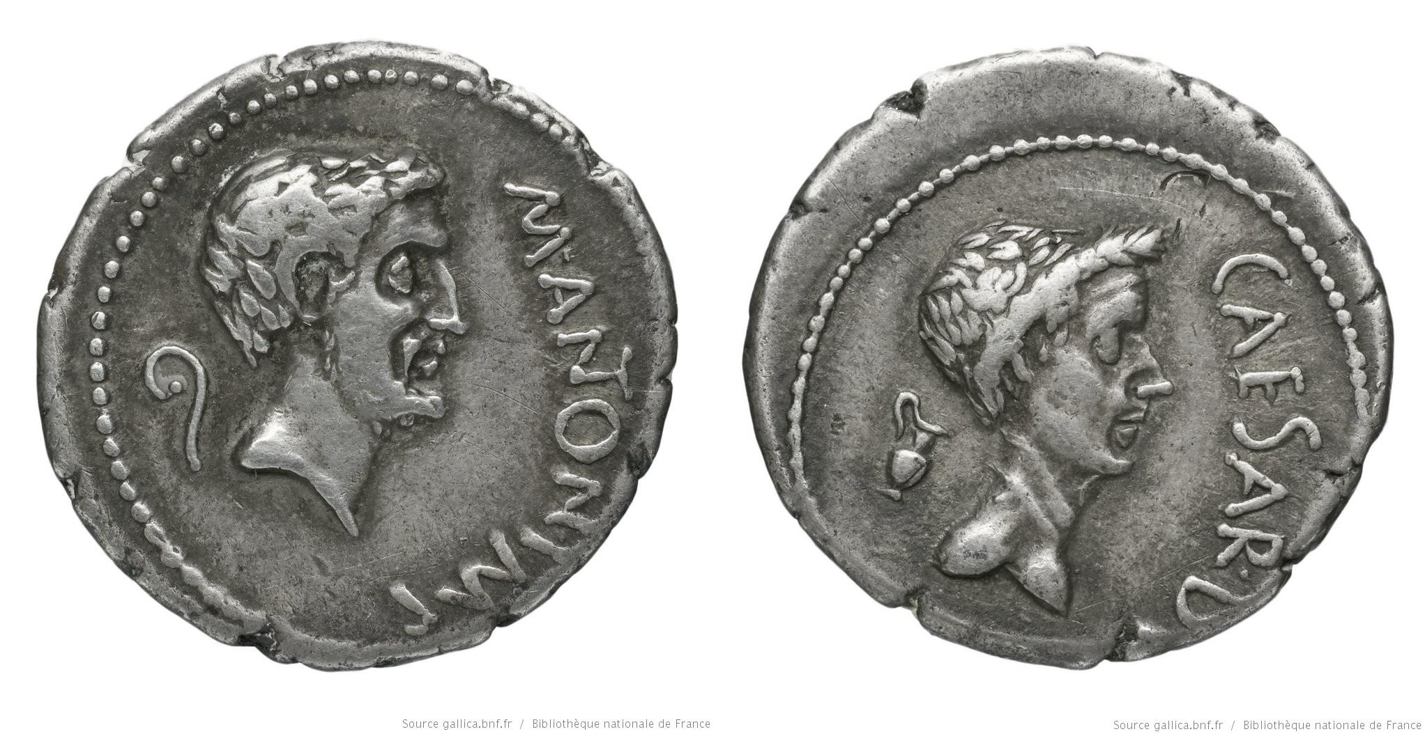 1562AN – Denier Marc Antoine et César – Marcus Antonius