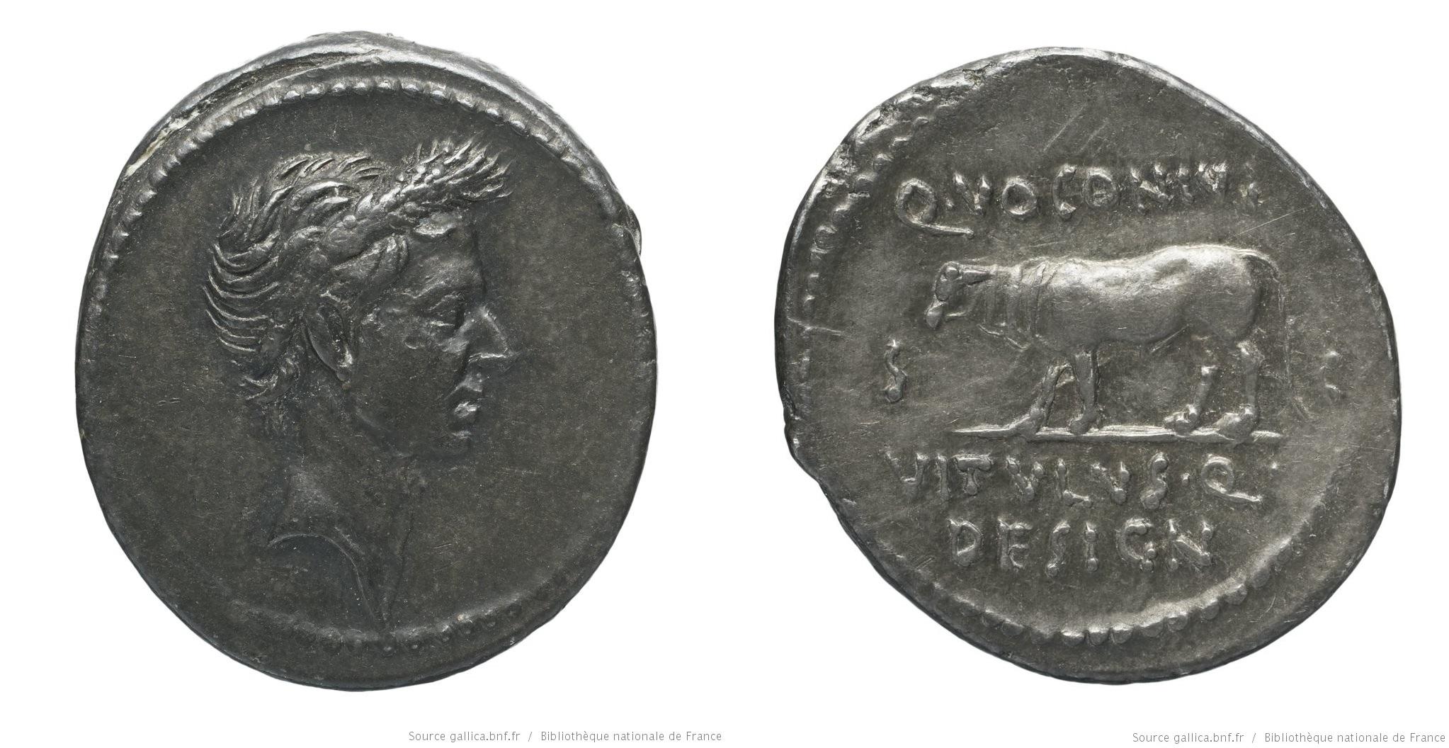 1715JU – Denier César – Quintus Voconius Vitulus