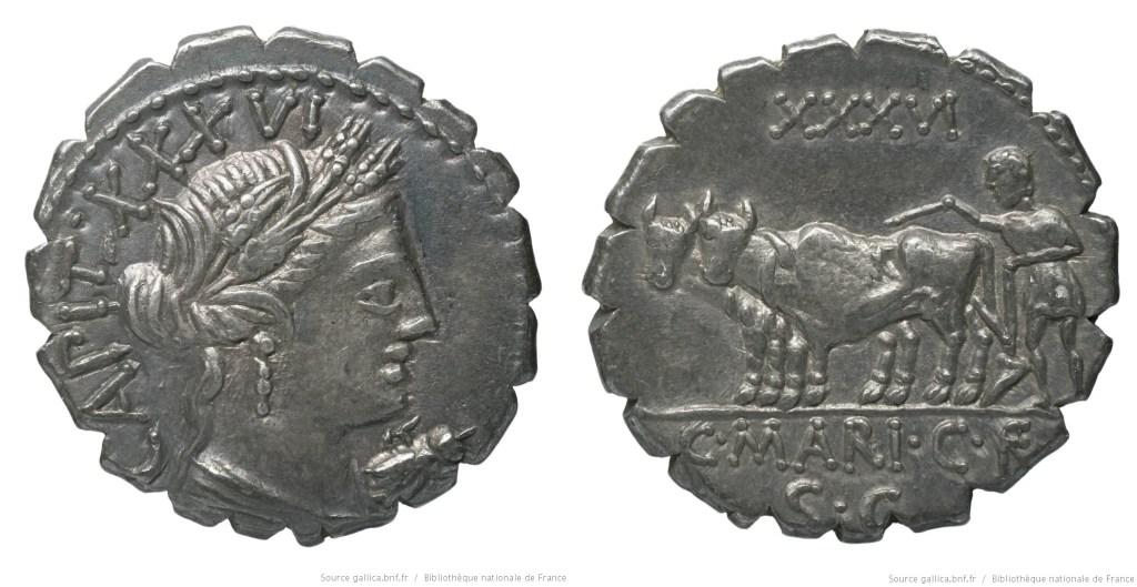 1310MA – Denier Serratus Maria – Caius Marius Capito