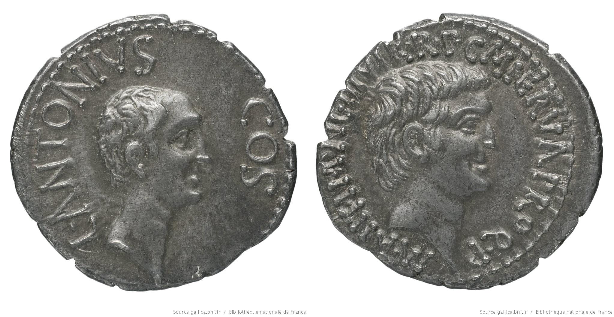 1689AN – Denier Marc Antoine et Lucius Antoine – Marcus Antonius