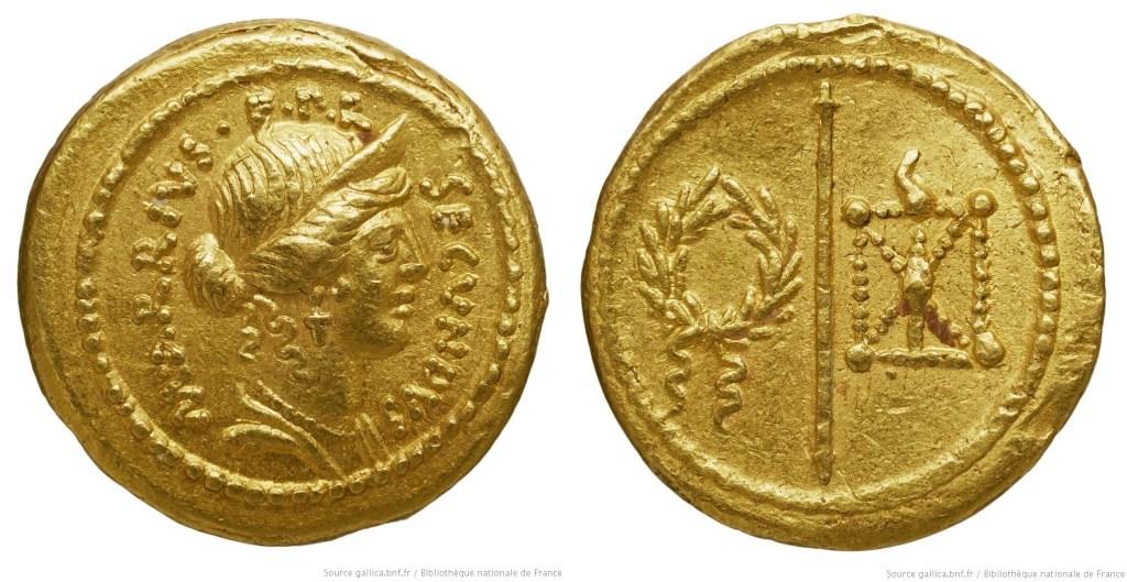 1673AR – Aureus Arria – Marcus Arrius Secundus