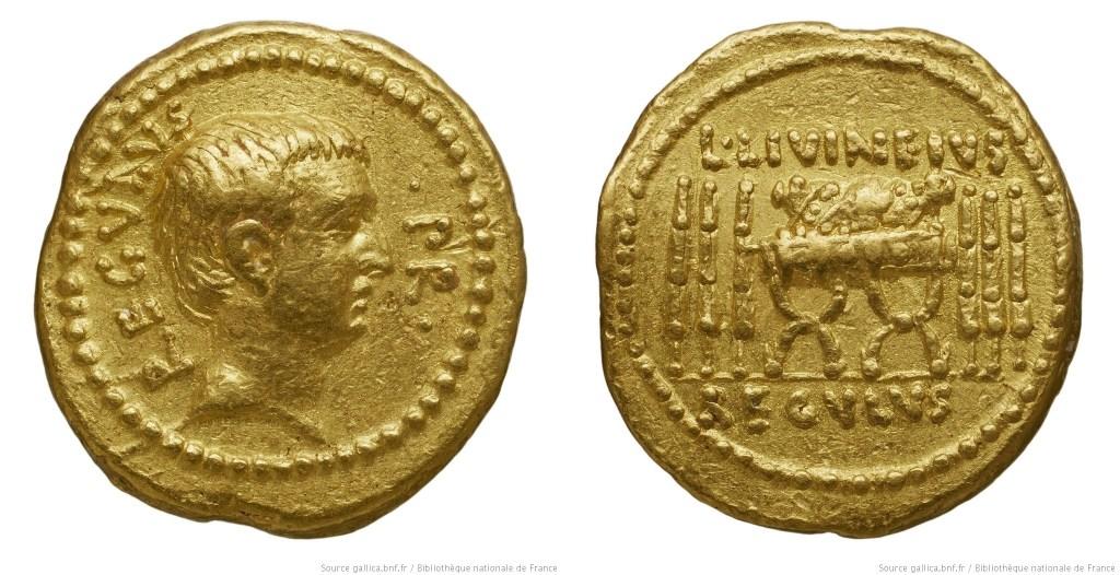 1604LI – Aureus Livineia – Lucius Livineius Regulus