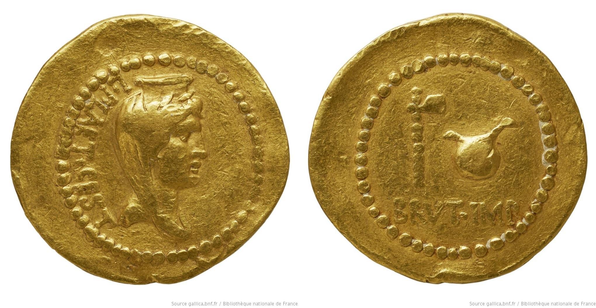 You are currently viewing 1657JU – Aureus Brutus _ L. Plaetorius Cestianus
