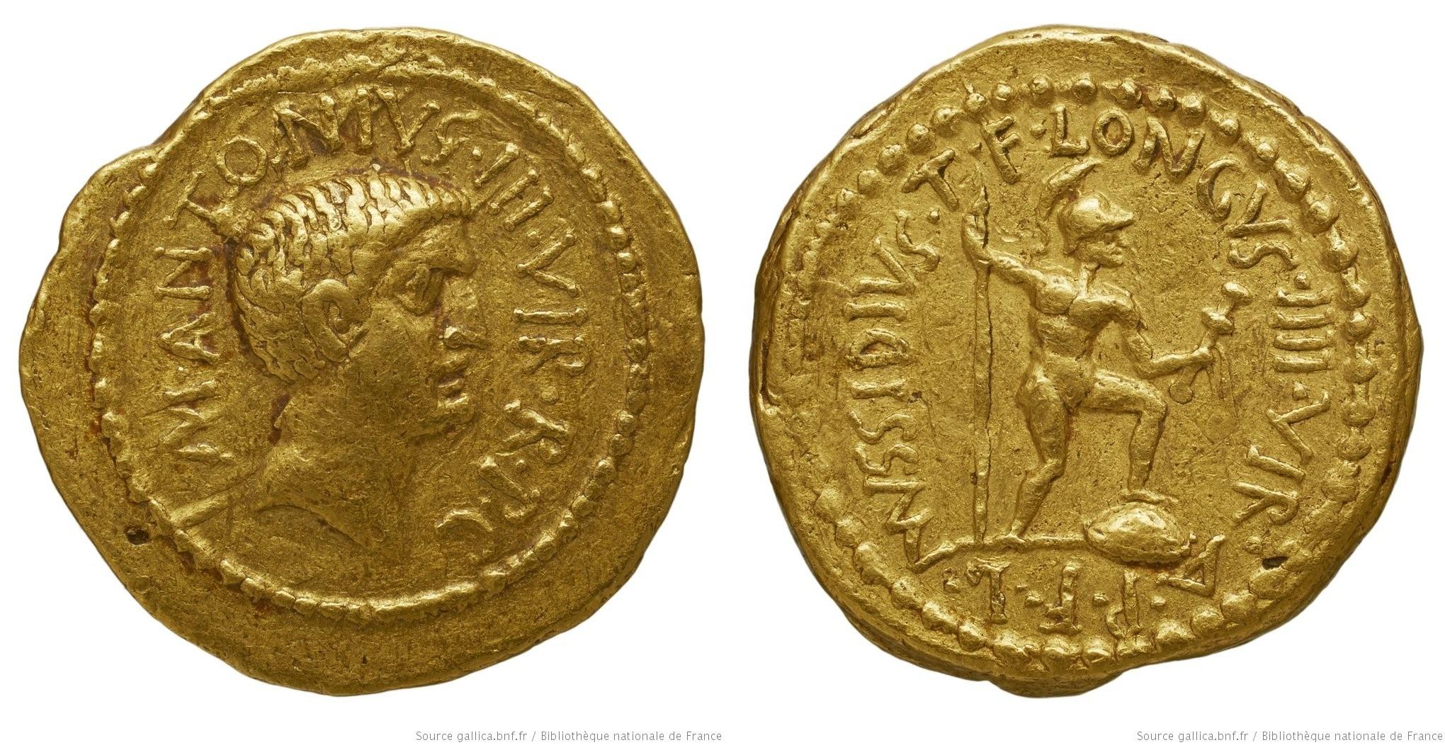 1586AN – Aureus Marc Antoine – Lucius Mussidius Longus